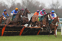 The field in jumping action in the Colkirk Conditional Jockeys Maiden Hurdle