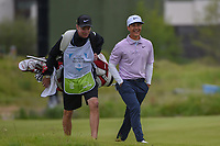 Thorbjorn Olesen (DEN) shares a laugh with his caddie as they head down 1 during round 2 of the AT&T Byron Nelson, Trinity Forest Golf Club, Dallas, Texas, USA. 5/10/2019.<br /> Picture: Golffile | Ken Murray<br /> <br /> <br /> All photo usage must carry mandatory copyright credit (© Golffile | Ken Murray)