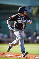 St. Bonaventure Bonnies catcher Tommy LaCongo (11) runs to first base during a game against the Dartmouth Big Green on February 25, 2017 at North Charlotte Regional Park in Port Charlotte, Florida.  St. Bonaventure defeated Dartmouth 8-7.  (Mike Janes/Four Seam Images)