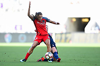 Orlando, FL - Saturday October 14, 2017: Tobin Heath, McCall Zerboni during the NWSL Championship match between the North Carolina Courage and the Portland Thorns FC at Orlando City Stadium.
