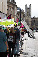 Extinction Rebellion protesters in Bath, England, UK. Saturday 17 August 2019