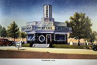 Diners:  Towers Cafe, Texarkana, Texas. 1938; 1940 view. Burned.   Photo  '89, googies