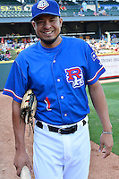Round Rock shortstop Guilder Rodriguez (1) before a baseball game, Saturday May 02, 2015 in Round Rock, Tex. Express defeated Sounds 5-4. (Mo Khursheed/TFV Media via AP images)