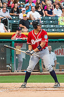 Steve Baron (24) of the Tacoma Rainiers at bat against the Salt Lake Bees in Pacific Coast League action at Smith's Ballpark on September 1, 2015 in Salt Lake City, Utah. The Bees defeated the Rainiers 10-1.  (Stephen Smith/Four Seam Images)