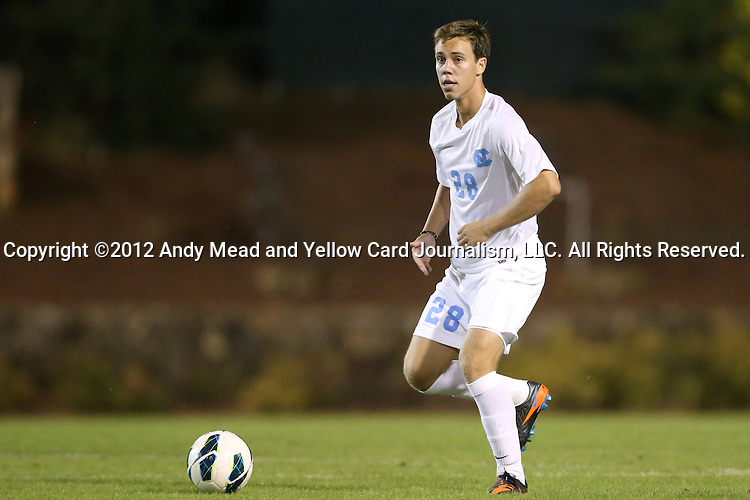02 October 2012: UNC's Alex Olofson. The University of North Carolina Tar Heels defeated the Georgia Southern Eagles 2-0 at Fetzer Field in Chapel Hill, North Carolina in a 2012 NCAA Division I Men's Soccer game.