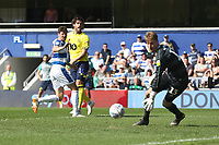 Blackburn Rovers' Danny Graham goes close with a first half header<br /> <br /> Photographer Rob Newell/CameraSport<br /> <br /> The EFL Sky Bet Championship - Queens Park Rangers v Blackburn Rovers - Friday 19th April 2019 - Loftus Road - London<br /> <br /> World Copyright © 2019 CameraSport. All rights reserved. 43 Linden Ave. Countesthorpe. Leicester. England. LE8 5PG - Tel: +44 (0) 116 277 4147 - admin@camerasport.com - www.camerasport.com