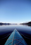 Alaska, Sea kayaker, Prince William Sound, Knight Island Passage, kayak bow,.