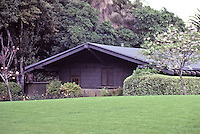 Greene & Greene:  Gamble House, Pasadena, 1908. Arts & Crafts design.<br /> Landscaping was intragal to the design.(Photo July 1983.)