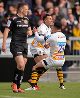 Wasps' Marcus Watson celebrates scoring his sides third try with Wasps' Juan De Jongh<br /> <br /> Photographer Bob Bradford/CameraSport<br /> <br /> Gallagher Premiership - Exeter Chiefs v Wasps - Sunday 14th April 2019 - Sandy Park - Exeter<br /> <br /> World Copyright © 2019 CameraSport. All rights reserved. 43 Linden Ave. Countesthorpe. Leicester. England. LE8 5PG - Tel: +44 (0) 116 277 4147 - admin@camerasport.com - www.camerasport.com
