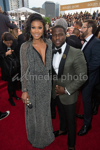 Eniko Parrish and Kevin Hart arrive at the 73rd Annual Golden Globe Awards at the Beverly Hilton in Beverly Hills, CA on Sunday, January 10, 2016. Photo Credit: HFPA/AdMedia