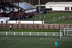Gala Fairydean Rovers 4, Gretna 1, 25/01/2020. Netherdale, Scottish Lowland League. Visiting goalkeeper Aaron Taylor watching the first-half action as Gala Fairydean Rovers (in red) host Gretna 2008 in a Scottish Lowland League match at Netherdale, Galashiels, with the adjoining rugby ground simultaneously hosting a Scottish National League 1 match between Gala RFC and Heriot's FP. The home club were established in 2013 through a merger of Gala Fairydean, one of Scotland's most successful non-League clubs, and local amateur club Gala Rovers. The visitors were a 'phoenix' club set up in the wake of the collapse of the original club, which had competed for a short time in the 2000s before going bankrupt. The home aside won this encounter 4-1 watched by a crowd of 120. Photo by Colin McPherson.