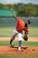 GCL Astros pitcher Misael Tamarez (35) during a Gulf Coast League game against the GCL Cardinals on August 11, 2019 at Roger Dean Stadium Complex in Jupiter, Florida.  GCL Cardinals defeated the GCL Astros 2-1.  (Mike Janes/Four Seam Images)