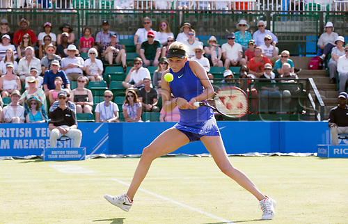 June 18th 2017, Nottingham, England; WTA Aegon Nottingham Open Tennis Tournament day 7 finals day;  Powerful backhand from Donna Vekic of Croatia in her match with Johanna Konta of Great Britain  (Photo by David Kissman/Action Plus via Getty Images)