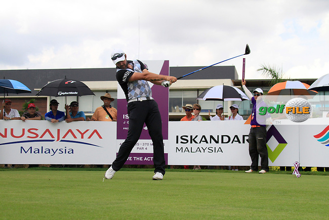 Christian Nilsson (SWE) tees off on the 1st tee to start his match during Saturday's storm delayed  Round 3 of the Iskandar Johor Open 2011 at the Horizon Hills Golf Resort Johor, Malaysia, 19th November 2011 (Photo Eoin Clarke/www.golffile.ie)