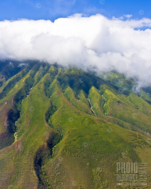 An aerial view of south east Molokai's mountains near Wailua, reveal the curved valleys formed over tens of thousands of years.