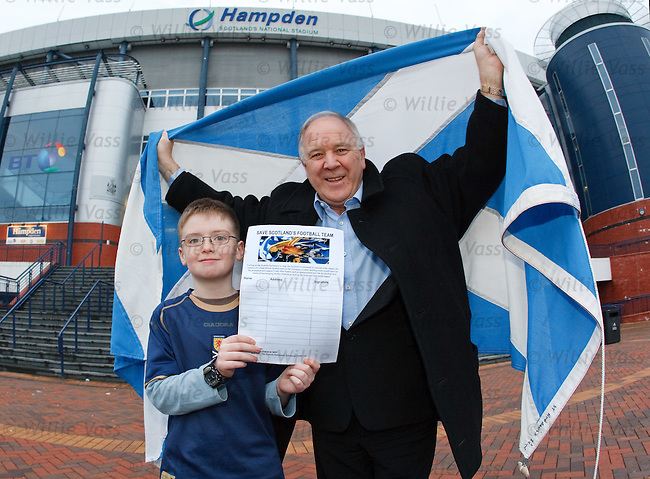 Ex-Scotland manager Craig Brown at Hampden this afternoon to launch the Save Scotland's Football team campaign with 10 year old Scotland Fan Adam Hirst
