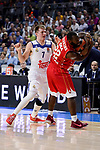 Real Madrid's Luka Doncic and Crvena Zvezda Mts Belgrade's Charles Jenkins during Turkish Airlines Euroleague match between Real Madrid and Crvena Zvezda Mts Belgrade at Wizink Center in Madrid, Spain. March 10, 2017. (ALTERPHOTOS/BorjaB.Hojas)