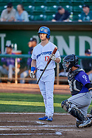 Andrew Shaps (17) of the Ogden Raptors bats in front of catcher Javier Guevara (6) during a game against the Grand Junction Rockies at Lindquist Field on September 7, 2018 in Ogden, Utah. The Rockies defeated the Raptors 8-5. (Stephen Smith/Four Seam Images)