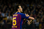 Sergio Busquets of FC Barcelona gestures during the La Liga match between Barcelona and Real Sociedad at Camp Nou on May 20, 2018 in Barcelona, Spain. Photo by Vicens Gimenez / Power Sport Images