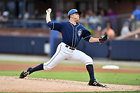 Asheville Tourists starting pitcher Matt Dennis (30) delivers a pitch during a game against the Rome Braves at McCormick Field on July 27, 2017 in Asheville, North Carolina. The Braves defeated the Tourists 6-3. (Tony Farlow/Four Seam Images)