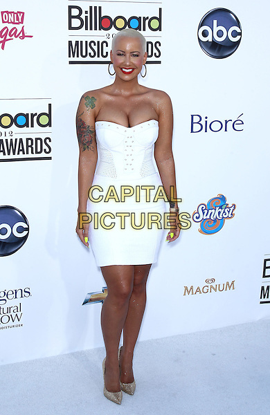 Amber Rose .2012 Billboard Music Awards arrivals at the MGM Grand Garden Arena Las Vegas, Las Vegas, Nevada, USA..May 20th, 2012.full length white strapless dress tattoo  cleavage .CAP/ADM/MJT.© MJT/AdMedia/Capital Pictures.