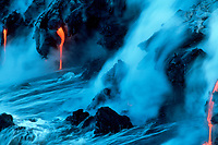lava from Kilauea Volcano entering Pacific Ocean, Hawaii, USA Volcanoes National Park, Big Island, Hawaii, USA, Pacific Ocean