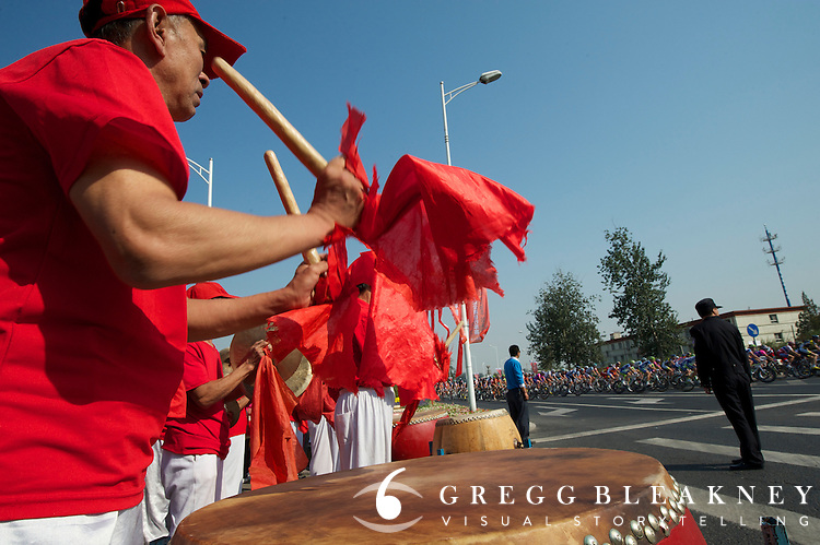 There were several different groups of drummers on the roadside during the stage.  2011 Tour of Beijing Stage 2