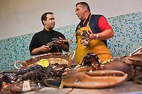 Europe/France/Bretagne/56/Morbihan/Vannes: Thierry Séchelles - Restaurant Le Roscanvec  fait ses courses sur le marché à  la Halle aux poissons Place de la Poissonnerie - Chez Patrick Briend qui venf d des homards bleus bretons de l'Ile de Houat
