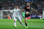 Carlos Henrique Casemiro of Real Madrid competes for the ball with Marek Hamsik of SSC Napoli during the match of Champions League between Real Madrid and SSC Napoli  at Santiago Bernabeu Stadium in Madrid, Spain. February 15, 2017. (ALTERPHOTOS)