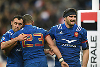 France players celebrate at the final whistle. Natwest 6 Nations match between France and England on March 10, 2018 at the Stade de France in Paris, France. Photo by: Patrick Khachfe / Onside Images