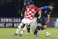 Marin Jakolis of Croatia and Lucas Tousart of France compete for the ball<br /> Serravalle 21-06-2019 Stadio San Marino Stadium <br /> Football UEFA Under 21 Championship Italy 2019<br /> Group Stage - Final Tournament Group C<br /> France - Croatia<br /> Photo Cesare Purini / Insidefoto