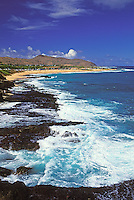 View of Sandy Beach from Blow Hole lookout, Oahu, Hawaii