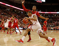 Ohio State Buckeyes forward Marc Loving (2) drives against Nebraska Cornhuskers guard Shavon Shields (31) in the first half at Value City Arena in Columbus Jan. 4, 2013 (Dispatch photo by Eric Albrecht)