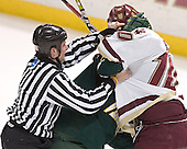 Chris Myers, Brian Boyle - The Boston College Eagles completed a shutout sweep of the University of Vermont Catamounts on Saturday, January 21, 2006 by defeating Vermont 3-0 at Conte Forum in Chestnut Hill, MA.