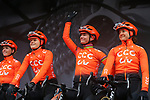 Marianne Vos (NED) and CCC Liv team introduced on stage before the start of Stage 1 of the 2019 ASDA Tour de Yorkshire Women's Race, running 132km from Barnsley to Bedale, Yorkshire, England.  3rd May 2019.<br /> Picture: ASO/SWPix | Cyclefile<br /> <br /> All photos usage must carry mandatory copyright credit (© Cyclefile | ASO/SWPix)