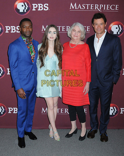 """08 April 2019 - New York, New York - David Oyelowo, Lily Collins, Rebecca Eaton and Dominic West at Times Talk with cast of """"LES MISERABLES"""" at the Times Center. <br /> CAP/ADM/LJ<br /> ©LJ/ADM/Capital Pictures"""