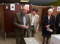 King Albert II of Belgium  and Queen Paola of Belgium voting during the Belgian Elections - Belgium