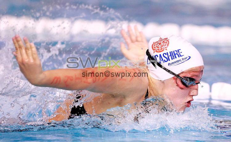PICTURE BY CHRIS MANGNALL /SWPIX.COM... Swimming -  British Gas ASA National County Team Championships  (25m)  - Ponds Forge , Sheffield, England  - 16/10/11...   Girls   12/13   100m  Butterfly  Lancashire  Brearnna Close Wins