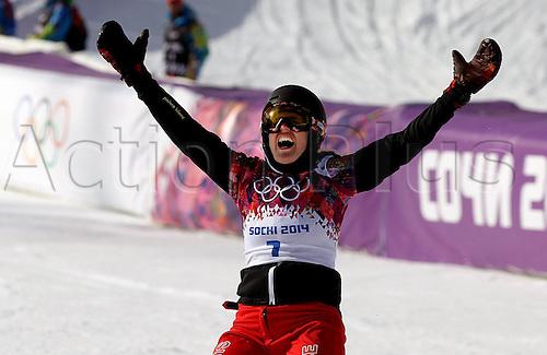 19.02.2014. Sochi, Russia.  Rosa Khutor   Sochi Winter Olympic Wiomens Giant Parallel Slalom Snowboarding.  Patrizia Kummer (SUI) celebrates at the finish