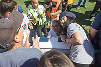 Santa Clara, CA - Sunday May 12, 2019: Fans take photos with Alex Morgan. The women's national teams of the United States (USA) and South Africa (RSA) play in an international friendly match at Levi's Stadium.