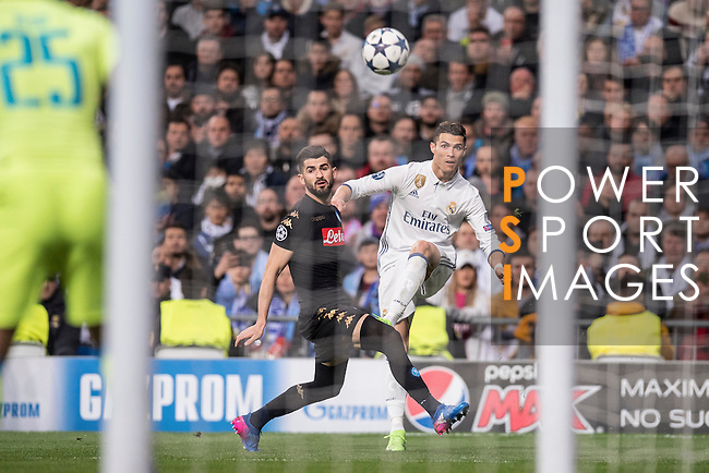 Cristiano Ronaldo of Real Madrid kicks the ball during the match Real Madrid vs Napoli, part of the 2016-17 UEFA Champions League Round of 16 at the Santiago Bernabeu Stadium on 15 February 2017 in Madrid, Spain. Photo by Diego Gonzalez Souto / Power Sport Images