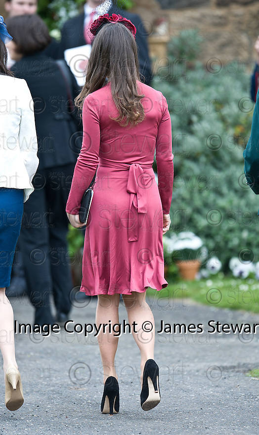 Pippa Middleton arrives at Aberlady Church for the wedding of her friend Camilla Hook to Sam Holland, grandson of Lord Attenborough  .......