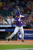 Wes Toups (9) of the LSU Tigers at bat against the Baylor Bears in game five of the 2020 Shriners Hospitals for Children College Classic at Minute Maid Park on February 28, 2020 in Houston, Texas. The Bears defeated the Tigers 6-4. (Brian Westerholt/Four Seam Images)