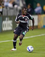 Freddy Adu looks towards the box. D.C. United defeated the Houston Dynamo 2-0 at RFK Stadium in Washington, D.C. on April 15, 2006
