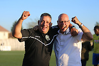 Tom Loizou manager of Haringey and Chairman Aki Achillea celebrate their victory during Haringey Borough vs Poole Town, Emirates FA Cup Football at Coles Park Stadium on 20th October 2018