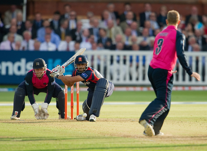 Essex Eagles' Ravi Bopara sweeps off the bowling of Middlesex's Adam Voges whilst wicket-keeper Adam Rossington looks on<br /> <br />  (Photo by Ashley Western/CameraSport) <br /> County Cricket - Friends Life t20 2013 - Middlesex v Essex - Thursday 04th July 2013 - Lord's, London <br /> <br />  &copy; CameraSport - 43 Linden Ave. Countesthorpe. Leicester. England. LE8 5PG - Tel: +44 (0) 116 277 4147 - admin@camerasport.com - www.camerasport.com