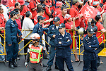Bangkok, Jan 23: Police, Security forces and protesters as the United Front for Democracy against Dictatorship (UDD) Red Shirt protesters rally at Ratchapraong intersection in central Bangkok before marching to Democracy Monument. Red Shirt leaders vowed to rally two times each month to commemorate the military crackdowns on protesters last year. Bangkok, January 23, 2010.