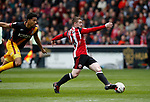 John Fleck of Sheffield Utd in action with Timothy Dieng of Bradford City during the English League One match at Bramall Lane Stadium, Sheffield. Picture date: April 17th 2017. Pic credit should read: Simon Bellis/Sportimage