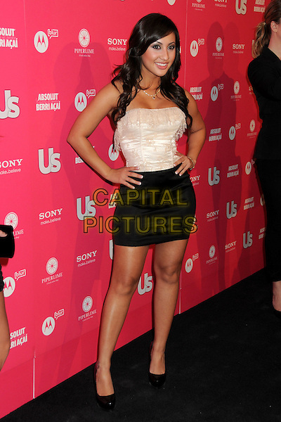 FRANCIA RAISA.US Weekly Hot Hollywood Style Issue Event held at Drai's at the W Hollywood Hotel, Hollywood, California, USA..April 22nd, 2010.full length black mini skirt white cream silk satin strapless top hands on hips lace corset.CAP/ADM/BP.©Byron Purvis/AdMedia/Capital Pictures.