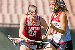 Los Angeles, CA 04/22/16 - Suzy Emerson (Stanford #24) and Julia Massaro (Stanford #18) in action during the NCAA Stanford-USC Division 1 women lacrosse game at the Los Angeles Memorial Coliseum.  USC defeated Stanford 10-9/
